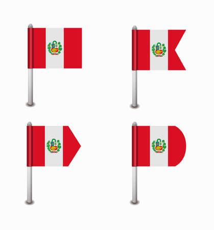 design set of four flags Peru Vector