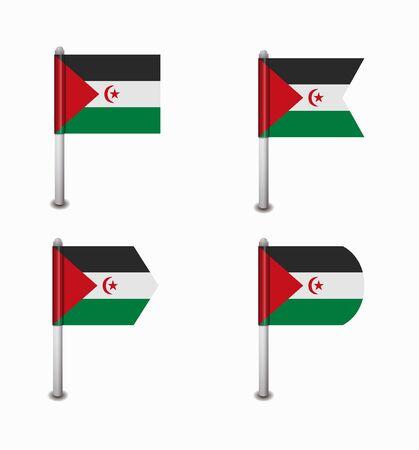 sahrawi arab democratic republic: design set of four flags Sahrawi Arab Democratic Republic Illustration