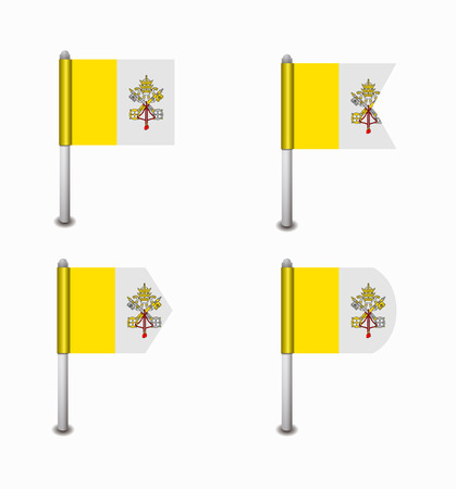 vatican city: design set of four flags Vatican City