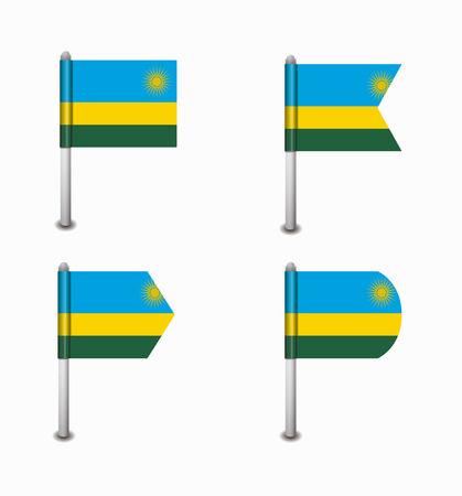 design set of four flags Rwanda Vector