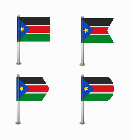 south sudan: design set of four flags South Sudan Illustration