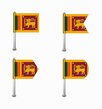 sri: design set of four flags Sri Lanka Illustration