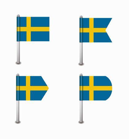design set of four flags Sweden