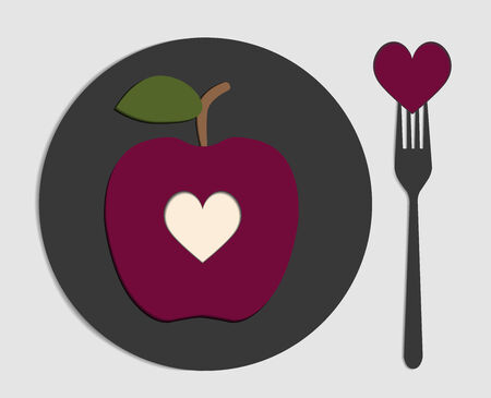 planted: design planted apple and fork with heart