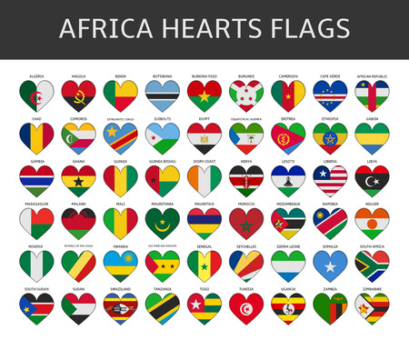 africa hearts flags vector Vector