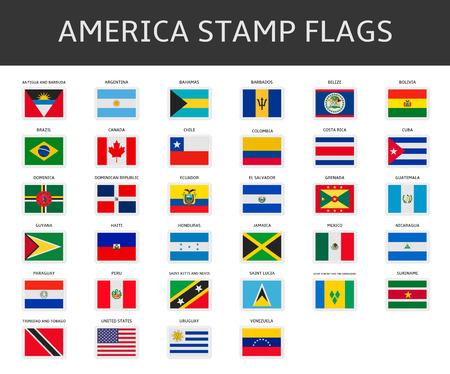 아메리카 우표 플래그 벡터