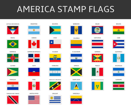 america stamps flags vector