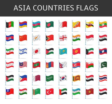 asia flag vector Illustration