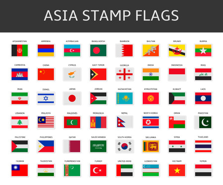 asia stamps flags vector Vector