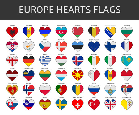 kingdom of spain: europe hearts flags vector