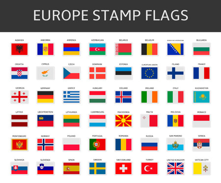 europe stamps flags vector