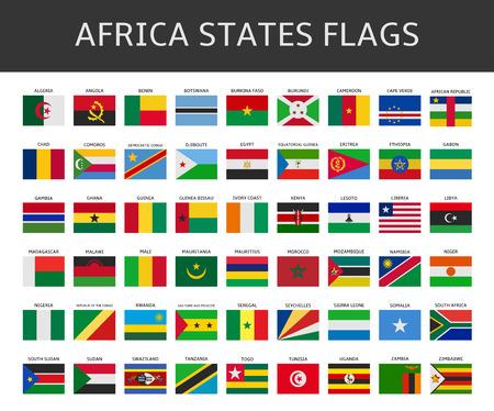 flag of africa states vector set  イラスト・ベクター素材