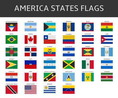america: flag of america states vector set
