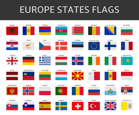 international flags: flag of europe states vector set