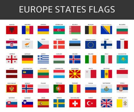 Flagge der Europa besagt, Vektor-Set Standard-Bild - 36647268