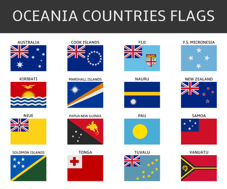 oceania: flag of oceania states vector set Illustration