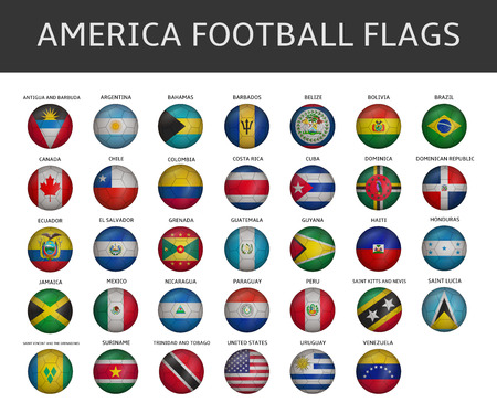football flag of america states vector set Vector
