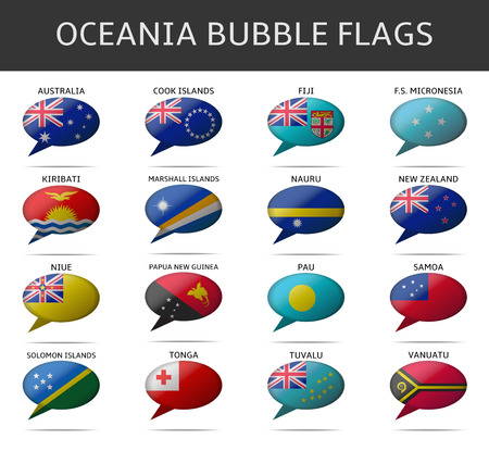 oceania: oceania bubble flags vector