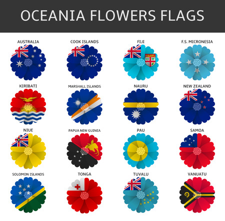 oceania: oceania flowers flags vector