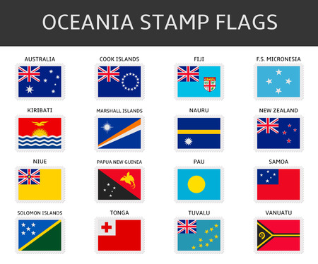 oceania: oceania stamps flags vector