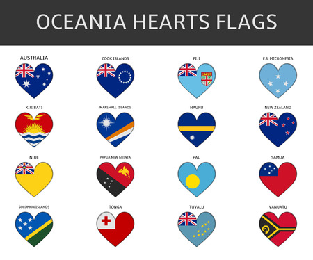 niue: ocenia hearts flags vector