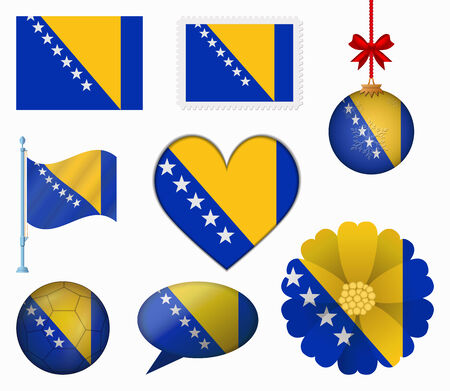 Bosnia and Herzegovina flag set of 8 items vector Vector