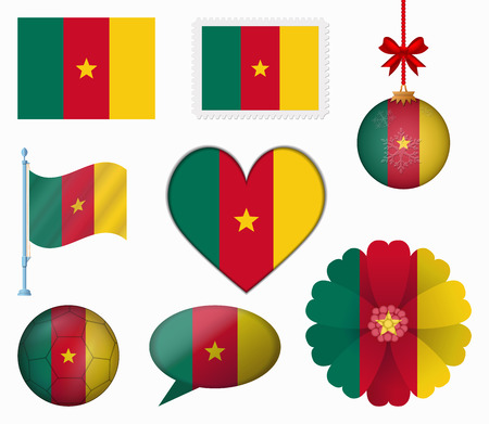 cameroon: Cameroon flag set of 8 items vector Illustration