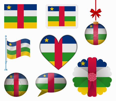 central african republic: Central African Republic flag set of 8 items vector Illustration
