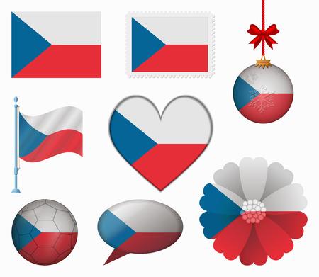 czech flag: Czech flag set of 8 items vector