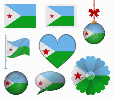 Djibouti flag set of 8 items vector Vector