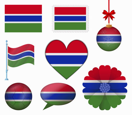 gambia: Gambia flag set of 8 items vector