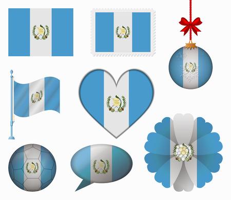 bandera de guatemala: Guatemala pabell�n conjunto de 8 art�culos vector Vectores