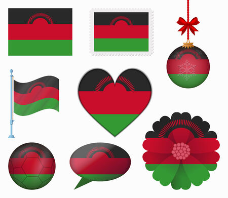 malawi flag: Malawi flag set of 8 items vector