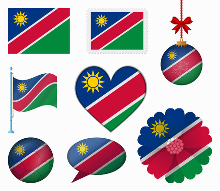 Namibia flag set of 8 items vector Vector
