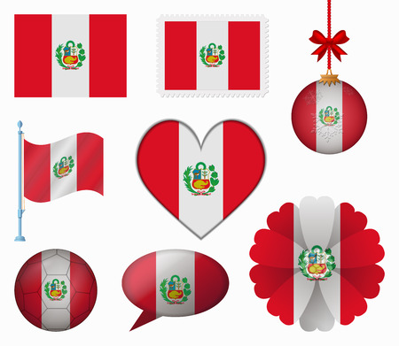 bandera peru: Per� pabell�n conjunto de 8 art�culos vector Vectores