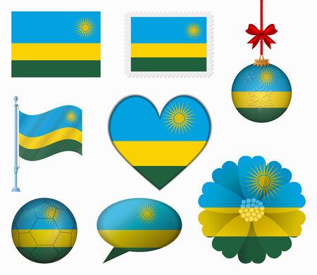 Rwanda flag set of 8 items vector Vector