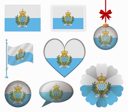 san marino: San Marino flag set of 8 items vector