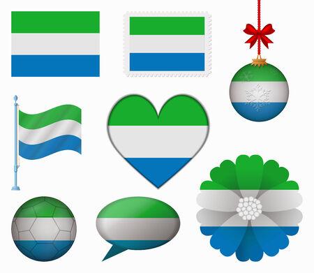sierra leone: Sierra Leone flag set of 8 items vector