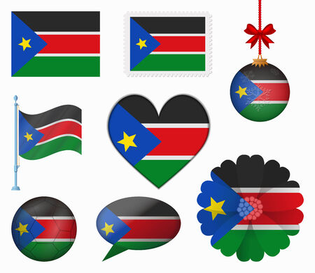 south sudan: South Sudan flag set of 8 items vector