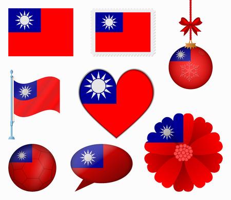 Taiwan drapeau série de huit articles vecteur Banque d'images - 36792070