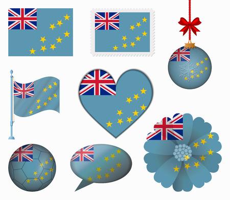 tuvalu: Tuvalu flag set of 8 items vector