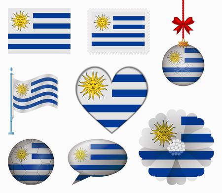 bandera de uruguay: Uruguay pabell�n conjunto de 8 art�culos vector