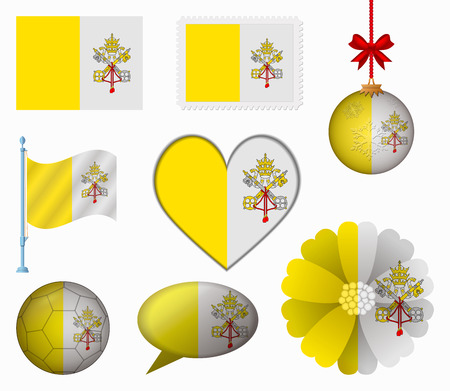 vatican city: Vatican City flag set of 8 items vector Illustration