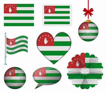 abkhazia: abkhazia flag set of 8 items vector Illustration