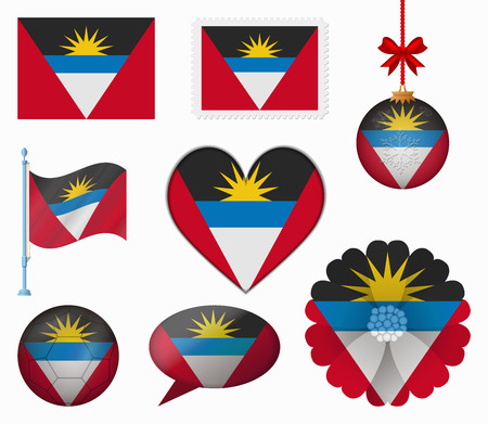 Antigua and Barbuda flag set of 8 items vector Vector