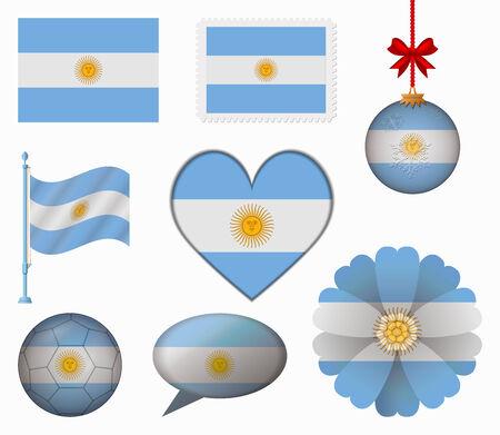 bandera argentina: Argentina pabell�n conjunto de 8 art�culos vector