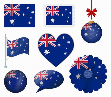 australia flag: Australia flag set of 8 items vector