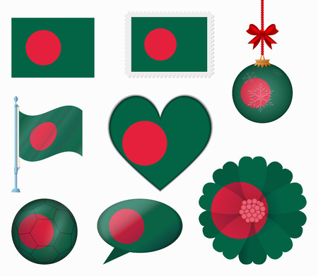 bangladesh: Bangladesh flag set of 8 items vector