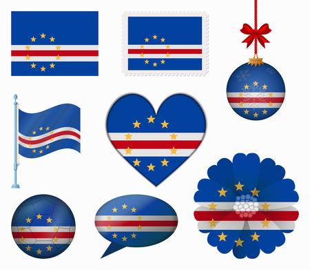 cape verde: Cape Verde flag set of 8 items vector Illustration