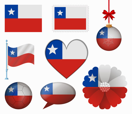 chile flag: Chile flag set of 8 items vector